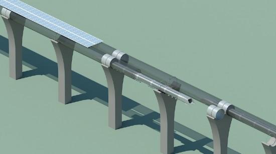 Cutaway of Hyperloop system, showing solar arrays. (Tesla Motors)
