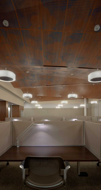 Ceilings Plus developed a suspension system that could support the various angles of the Quiet Hall's multi-planar ceiling. (Joe Aker/Gensler)