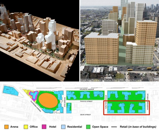 Clockwise from top left: An early model showing buildings along Vanderbilt Avenue designed by Frank Gehry; A massing diagram of buildings along Vanderbilt Avenue; The approved site plan indicating four buildings to be built at Vanderbilt Av and Dean St. (Courtesy Forest City Ratner; Courtesy MAS/Jonathan Barkey; Courtesy Forest City Ratner)