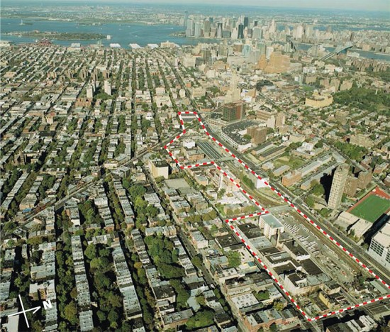 Dashed line indicates the site boundaries of Atlantic Yards. (Courtesy Forest City)