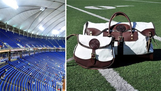 Inside the Metrodome (left, Jenni Konrad / Flickr) and the Duluth Pack bags (right, Courtesy Duluth Pack)