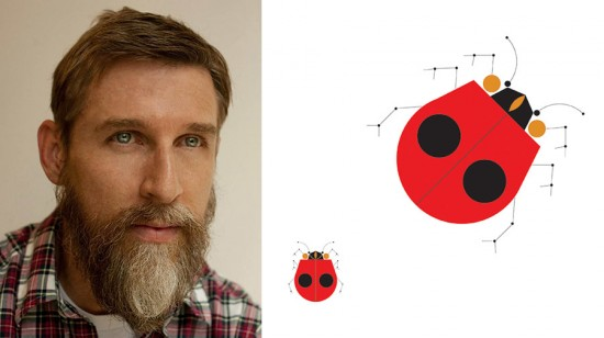 "Todd Oldham (left) and the ""Ladybugs"" wallcovering pattern (right). (Courtesy Designtex)"