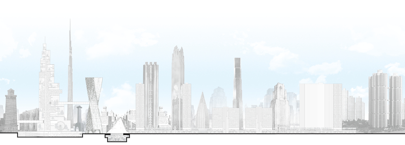 "Drawing Detail of ""Phantom Chicago"" by Eisenschmidt: The city of Chicago generated through unbuilt visionary projects across the 20th century (from Loos' Tribune Tower to Griffin's Plan for a Better Chicago and Greg Lynn's Stranded Sears Tower)."