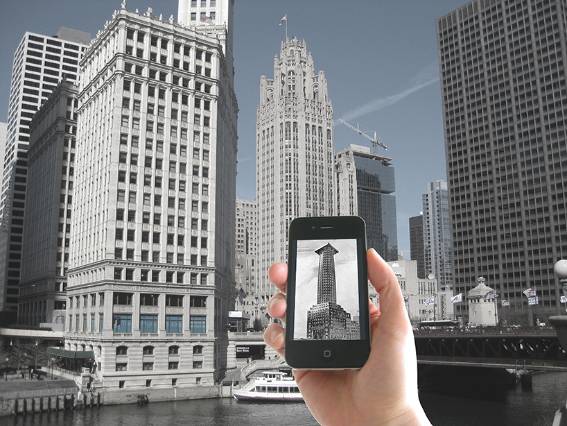 iPhone app showing Loos' Tribune Tower in front of the existing Chicago Tribune Tower