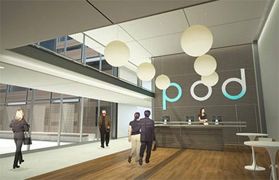 Rendering of the Pod Hotel. (Courtesy Garrison Architects)