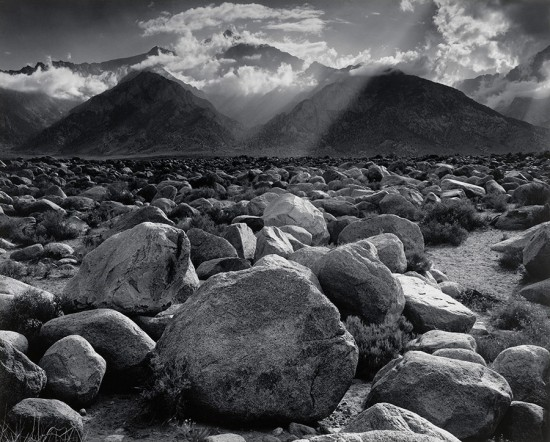 Ansel Adams, Mount Williamson, Sierra Nevada, from Manzanar, California, 1944. (Courtesy MoMA PS1)