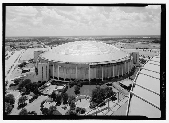 The Astrodome looking east from the roof of its neighbor and replacement, Reliant Stadium. (Jet Lowe, Courtesy Library of Congress)