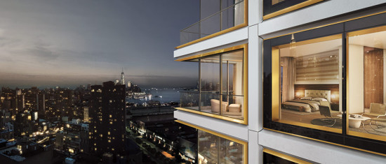 Rendering showing facade detail of Norman Foster's 551 West 21 Street. (Hayes Davidson /  Courtesy Foster + Partners)