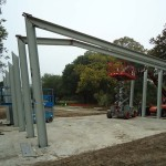 The pavilion in construction. (Courtesy Architexas)