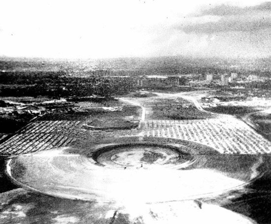 The Astrodome site was excavated for construction next to the stadium where the Colt .45's, the National League team that became the Houston Astros, played in the open air. (Courtesy Texas Architect)