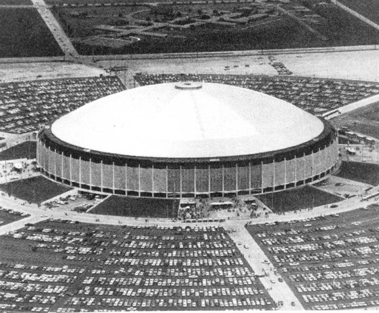 The interior scale of the Astrodome is complemented by the vastness of its parking lot. (Courtesy Texas Architect)