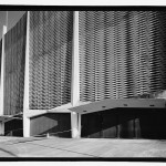 Detail of north facade, showing pre-cast concrete screen wall composed of stepped parallelograms. (Jet Lowe, Courtesy Library of Congress)