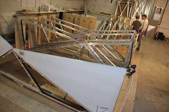 A 1/8-inch ACM sheet is folded around the frame. (courtesy Situ Fabrication)