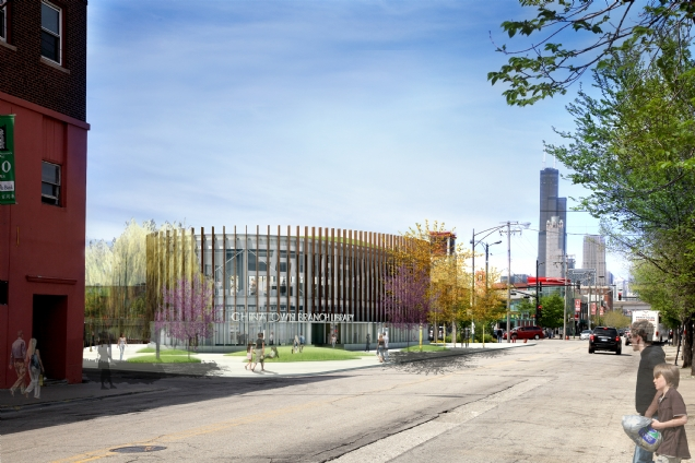 Chinatown's new library on Wentworth Avenue. (SOM / Public Buildings Commission)