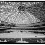 View south toward movable field seats. Note retractable pentagonal light ring gondola suspended from roof cupola; skylights painted over to reduce glare for baseball outfielders. (Jet Lowe, Courtesy Library of Congress)