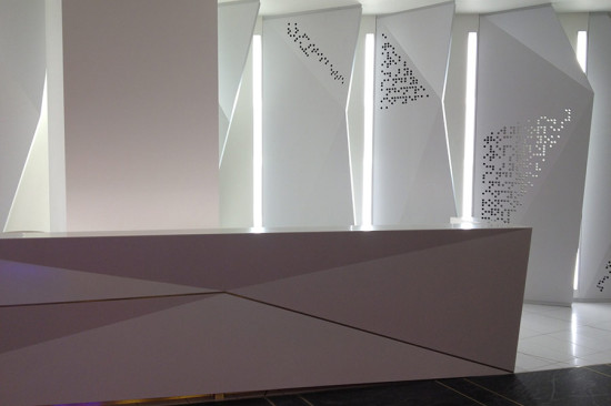 In addition to the panels, Situ fabricated custom Corian desks. (courtesy Situ Fabrication)