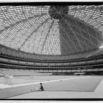 Perspective looking southwest. Worker in foreground is stitching together astroturf. (Jet Lowe, Courtesy Library of Congress)