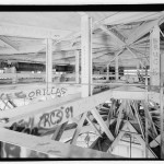 Cupola center right; gondola lift mechanism center left. Note partial view of lamella dome framing compression ring at lower right. (Jet Lowe, Courtesy Library of Congress)