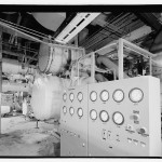 Steam turbine right background powering compressor just behind control panel. (Jet Lowe, Courtesy Library of Congress)