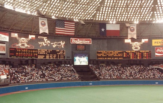The Astrodome had the world's first animated electronic scoreboard. Here it is circa 1986. (Courtesy Gary Hunt/flickr)