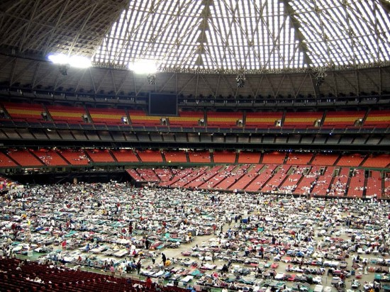 One of the Astrodome's last uses was housing thousands of refugees from Hurricane Katrina in 2005. (Courtesy Glen Campbell/flckr)