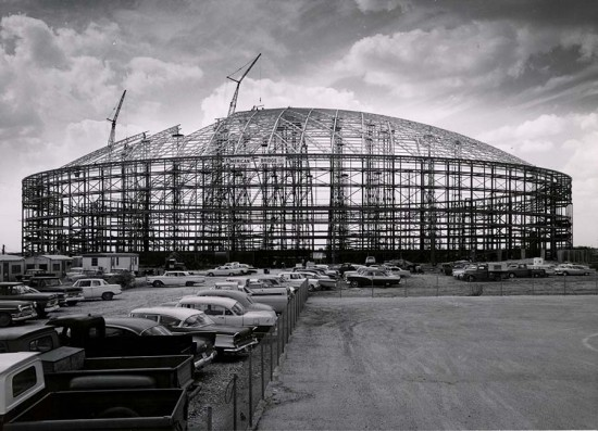 The Astrodome under construction in 1963. The structure comprises 9,400 tons of steel, 2,900 of which is in the roof alone. (Courtesy University of Houston)