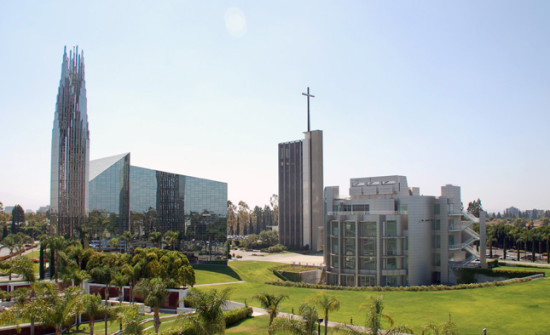 Philip Johnson's Crystal Cathedral (left), Richard Neutra's Tower of Hope (center), and Richard Meier's Center for Possibility Thinking (right). (Diocese of Orange)