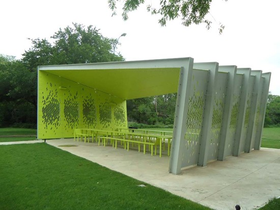 The pavilion's design is inspired by the surrounding tree canopy. (Courtesy Architexas)