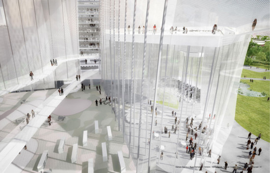The center will contain mesh walls and a giant atrium (SANAA)