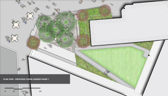 Phase One: Cohen Garden in Peck Alumni Center Courtyard. (Courtesy Andropogon)
