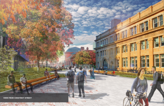 Perelman Plaza is hoped to become the new social campus center of Drexel University. (Courtesy Andropogon Landscape Architecture)