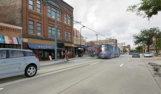 Renderings of a streetcar planned for Minneapolis. (Courtesy City of Minneapolis)