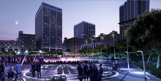 Pershing Square peculative proposal at night. (Gensler)
