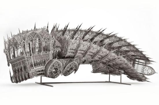 Twisted Dump Truck (Counterclockwise, Scale model 1:5) by Wim Delvoye (2011) is made from nickel-plated laser cut steel. (Studio Wim Delvoye)