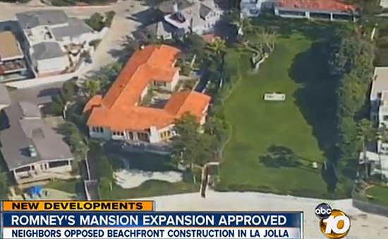 Mitt Romney's current house will be torn down to build his new mansion. (Courtesy ABC 10)