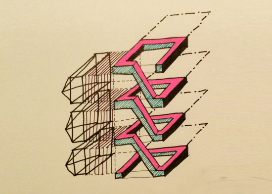 JOHN LEWANDOWSKI - PARALLAX IN TEAL AND PINK (COURTESY POINTLESS DIAGRAMS)