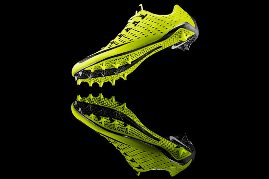 Nike's Vapor Laser Talon, by Shane Kohatsu (2013) features synthetic thermoplastic polyurethane textile upper, cubic dipped and painted nylon plate, and laser sintering. (courtesy Nike)