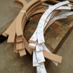 MDF is cut as a template for the final wooden ribs. (courtesy Rojkind Arquitectos)