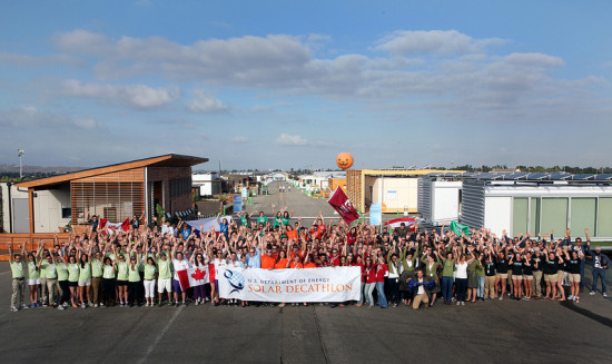 Participants celebrate the opening of the Decathlon (DOE)