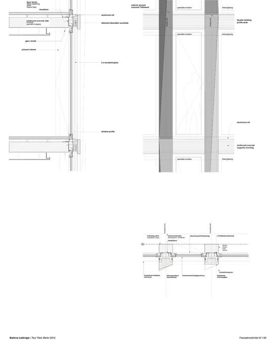 Section drawings of the facade (courtesy Barkow Leibinger)