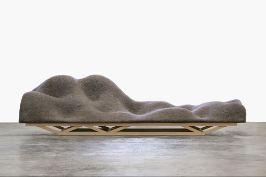 The volumes of the Brain Wave Sofa by Lucas Maassen and Unfold (2010) are informed by the designer's brain waves while thinking of comfort. (Lucas Maassen and Unfold)