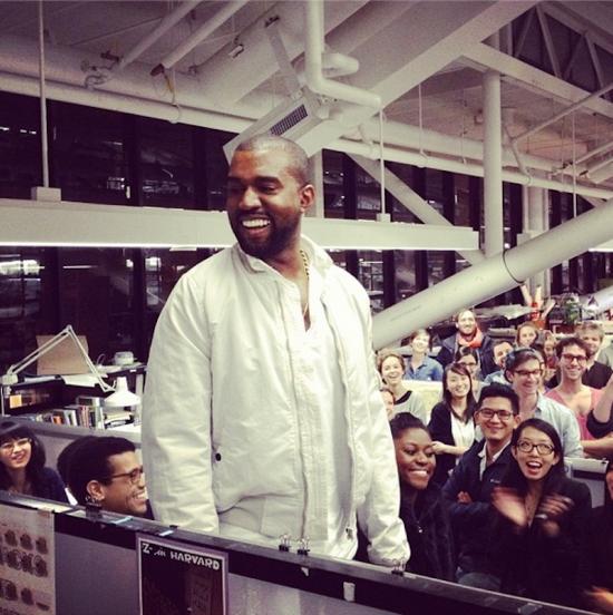 Kanye West at Harvard's Graduate School of Design (Noam Dvir / Instagram)