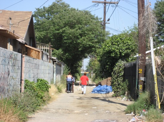 A South Los Angeles Alley Before Greening. (Trust for Public Land)