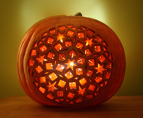 Dan Funderburgh's Laser-carved jack-o-lantern, courtesy of DesignSponge