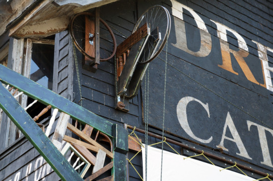 Recycled materials turn an abandoned property into an outdoor theater. (Spencer's Art House)