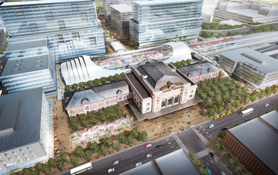 SOM, HARGREAVES ASSOCIATES, AND KIEWIT ARE TURNING DENVER'S UNION STATION INTO A CENTERPIECE FOR THE CITY, AS WELL AS A MULTI-MODAL TANSIT HUB. (COURTESY SOM)
