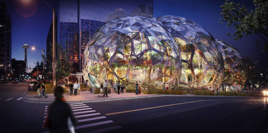 A night rendering of the Amazon biodomes (NBBJ).