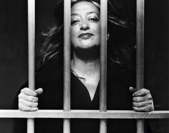 Zaha Hadid said she wouldn't design a prison. (Montage by AN)