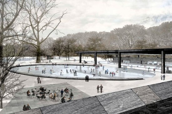 Rennovated Wollman Rink at Lakeside Park will offer services during all four seasons. (Courtesy Tod Williams Billie Tsien)