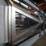 Triangular glass panels are sealed with custom gaskets. (courtesy Kammetal)